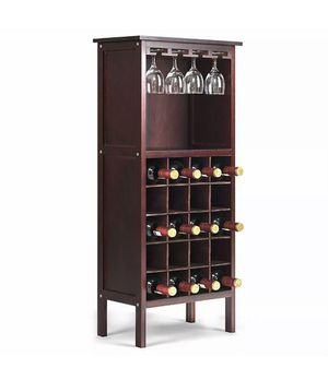 Wine Storage Cabinet Wood Bottle Holder Kitchen Home Bar w/ Glass Rack NEW for Sale in Phoenix, AZ