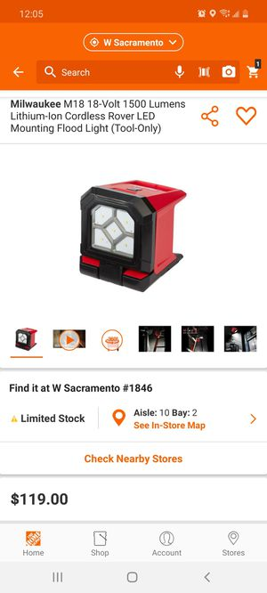 Milwaukee M18 18-Volt 1500 Lumens Lithium-Ion Cordless Rover LED Mounting Flood Light (Tool-Only) for Sale in Elk Grove, CA