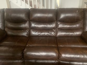 Ashley Furniture Brown Leather Sofa for Sale in Riverview,  FL