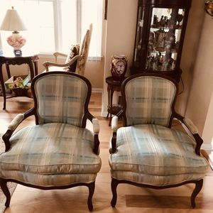 Antique French Chairs Silk With Down Filled for Sale in Shrewsbury, NJ