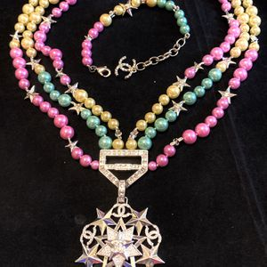 unicorn colour Silver Star triple pearls Necklace And Bracelet Set for Sale in Fremont, CA