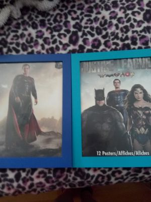 $8.00 Justice league posters framed wonder woman and superman for Sale in Fort Lauderdale, FL