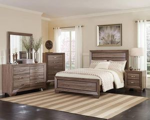 4PC QUEEN BEDROOM SET: QUEEN BED FRAME, DRESSER, MIRROR, NIGHTSTAND--WASHED TAUPE for Sale in Stockton, CA