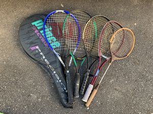 Assorted tennis rackets And one antique badminton racket. $10 takes all. for Sale in Blue River, CO