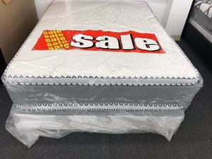 queen bamboo pillow top mattress with boxspring for Sale in Tustin, CA