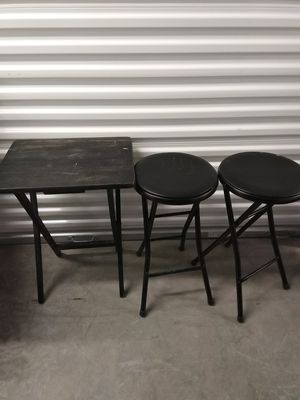 2 portable folding chairs stools and small table sturdy for Sale in Takoma Park, MD