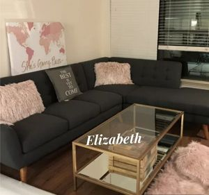 Sectional sofa mid century modern style ash black for Sale in Long Beach, CA