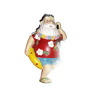 Holiday Lane Vacation Santa On Yellow Pool Float Hawai Shirt & Lei Christmas Ornament for Sale in Norfolk, VA