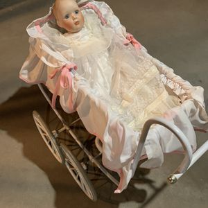 Vintage Doll Carriage WITH Doll for Sale in Woodbury, CT