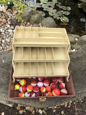 Vintage Plastic Fishing Tackle Box ( w/bobbers) for Sale in Pittsburgh, PA