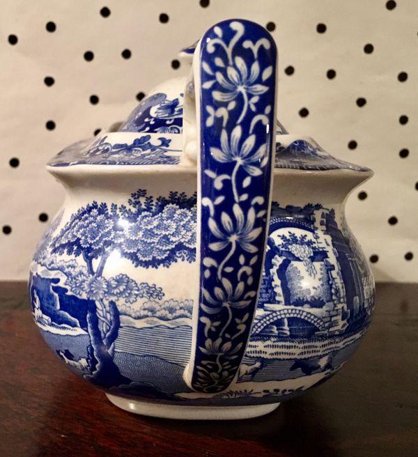 Spode England blue white Italian teapot