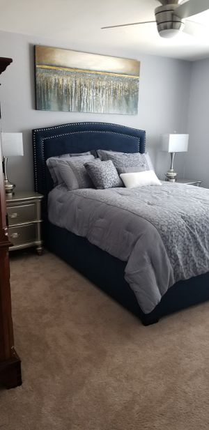 Blue Bed Frame. Like New. Used in guest room. for Sale in Charlotte, NC