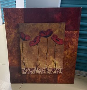Medium Sized Red Flower Painting for Sale in Southwest Ranches, FL
