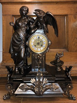 Large Antique French Bronze Figural Clock for Sale in West Los Angeles, CA