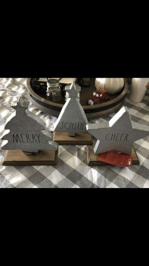 New! Rae Dunn Christmas set of 3 galvanized decor-MERRY/JOYFUL/CHEER for Sale in Riverside, CA