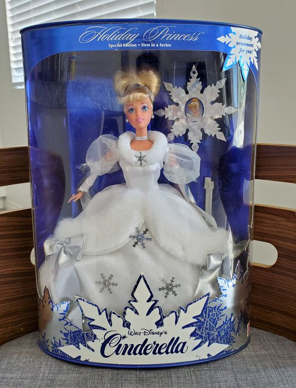 Disney classics Cinderella Holiday Princess Collectible Toy Doll Figure Mattel w/ ornament
