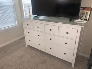 Ikea 8 Drawer Dresser with Glass topper for Sale in Colorado Springs, CO