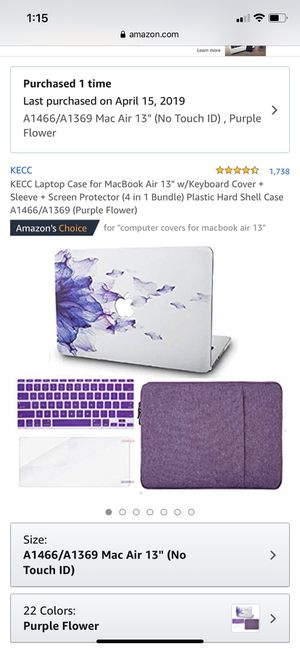 """Laptop case with keyboard protector for MacBook Air A1466/1369 13"""" for Sale in Vallejo, CA"""