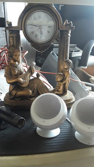 4 cds ,two loud bluetooth speakers with case and charger color security camera,heavy duty brass working clock,and regulator for wire feed welder for Sale in Modesto, CA