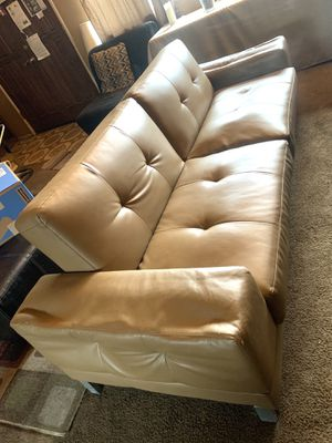 Mocha Leather Futon Couch - A Beauty for Sale in Artesia, CA