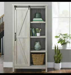 """Better Homes & Gardens 66"""" Modern Farmhouse Bookcase Storage Cabinet, Rustic White Finish for Sale in Houston,  TX"""