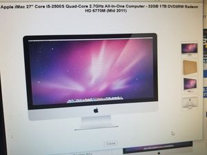 "27"" screen IMAC DESKTOP COMPUTER 4GIGS RAM 500GB WITH DVD. 2011 MODEL. for Sale in Los Angeles, CA"