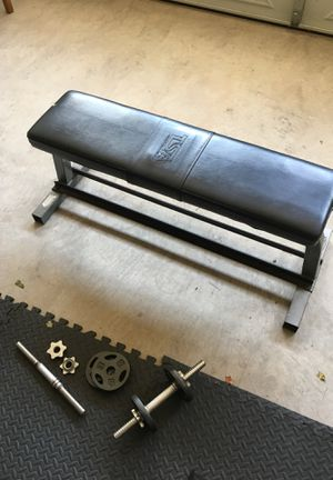 Flat bench with dumbbells/weights for Sale in Broadlands, VA