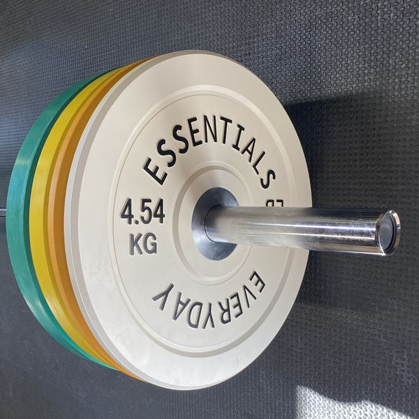 Olympic bar and whole set up with bumper plates