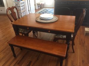 "54"" kitchen table with 2 chairs, 2 benches, and 1 leaf for Sale in Duluth, GA"