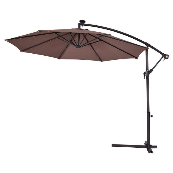 Large Offset Patio Umbrella with Stand Solar LED Lights Lighted Deck Shade Outdoor Furniture