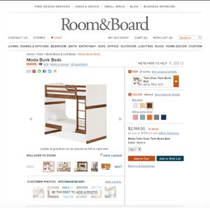 Room & Board Moda Bunk Beds Twin Over Twin Trundle Pottery Barn Crate Barrel CB2 for Sale in Pasadena, CA