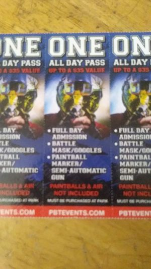 3 paint ball tickets for Sale in San Leandro, CA