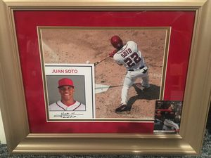 Juan Soto matted and framed autographed Soto with Limited edition Topps now baseball card for Sale in Alexandria, VA