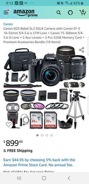 Canon EOS Rebel SL2 DSLR Camera with Canon EF-S 18-55mm f/4-5.6 is STM Lens + Canon 75-300mm f/4-5.6 III Lens bundle (19 items total) for Sale in Los Angeles, CA