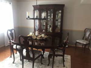 Dining room table with two inserts, 6 chairs and china cabinet for Sale in Homer Glen, IL