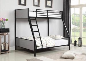 Beautiful bkack metal finish and grey Fabric Twin over Full Bunk Bed for Sale in Hollywood, FL