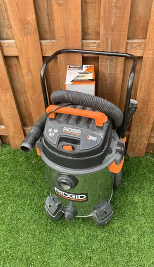 16 gallon stainless steel rigid shop vac with new filter and accessories for Sale in Chicago, IL