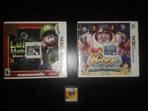 3 Nintendo 3ds games: Luigi's Mansion Dark Moon, Kirby Planet Robot, and Kirby Squek Squad. for Sale in TX, US