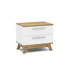 White and Wood Finish 2 Drawer Bedroom Nightstand for Sale in Los Angeles, CA