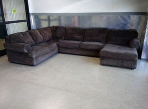 Microfiber brown sectional couch for Sale in Decatur, GA