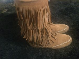 Size 7 tan moccasin mid calf fringe boots for Sale in Randleman, NC