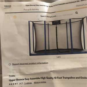Upper bounce easy assemble high quality 10 foot trampoline and enclosure set for Sale in Virginia Beach, VA