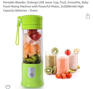 new Portable Blender, USB Juicer Cup, Fruit, Smoothie, Baby Food Mixing Machine with Powerful Motor, 2x2000mAh High Capacity Batteries - Green for Sale in Fresno, CA