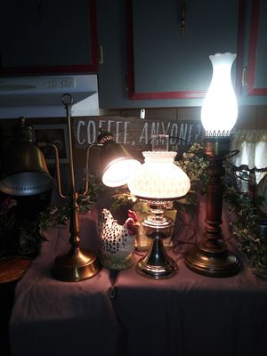 Vintage,brass desk lamps.1 is all brass w/double brass shades.1brass base w/ diamond guilted milk shade.1 table lamp w/hobnob shade. for Sale in Miamisburg, OH