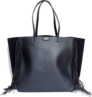 Victoria's Secret Limited Edition Faux Leather Fringe Tote Bag Black for Sale in Spokane, WA