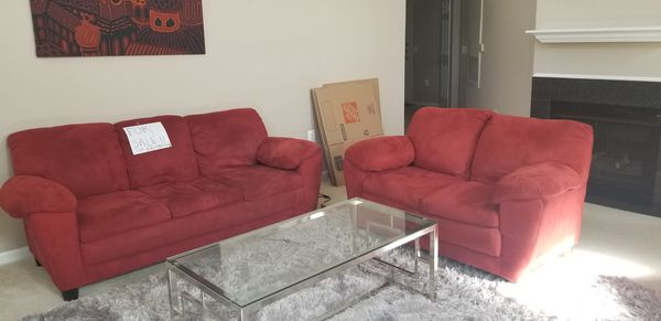 Red Couch Set For Sale! Good Condition