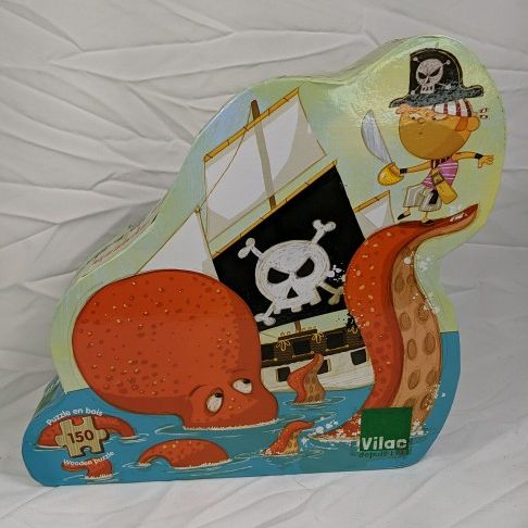 Pirate Puzzle For Kids, 150 Pieces, Pirate And Octopus