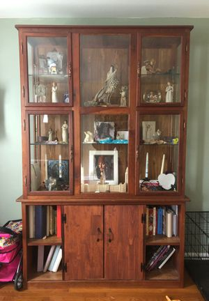 Curio cabinet with shelves and storage for Sale in Stevens, PA