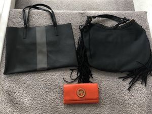 2 NEW black handbags and used MK wallet for Sale in Las Vegas, NV