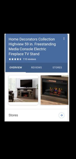 """Home decorators collection high view 59"""" free standing media console electric fireplace TV stand for Sale in Atlanta, GA"""